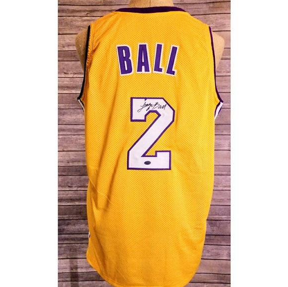 best service f9c3f 768f3 NBA Lakers Lonzo Ball Autographed Jersey #2 W/COA NWT